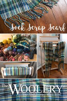This project is perfect for eating up all those yarn scraps you don't know what to do with. Read the post for tips for creating a cohesive color scheme from scraps to make your own scarf. Weaving Projects, Knitting Projects, Diy Projects, Weaving Patterns, Knitting Patterns, Cricket Loom, Loom Weaving, Tablet Weaving, Sock Yarn