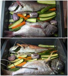 Εύκολο Ψαρι ψητό στο φούρνο με λαχανικά