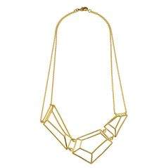 Architectural Structure Geometric Golden Necklace by osnatharnoy, $167.00