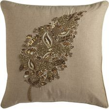 Romantic Glam Beaded Feather Pillow