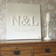 """wooden letters glued to canvas and painted - mine would have to say """"it started with an email"""" Craft Projects, Projects To Try, Craft Ideas, Diy Ideas, Diy Gifts, Craft Gifts, Personalised Canvas, Wooden Letters, Wedding Gifts"""
