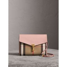 small leather house check crossbody bag