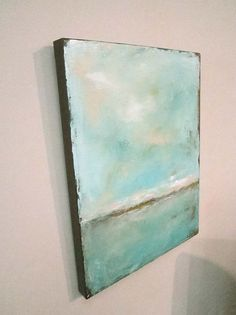 Abstract Ocean Painting Green Blue Sea 11 x 14 by lindadonohue