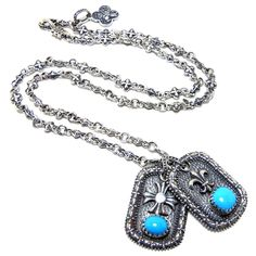 Hand carved & cast sterling silver chain and dog tags with fine cabochon turquoise stone.  www.dandabrothers.com  #dogtags #silver #jewelry #custom #chain #D #Demian #Alex #Vazquez #skull #wings #sacred #heart #turquoise #southwest #southwestern #cowboy boots #lucchese #Demian & Alex