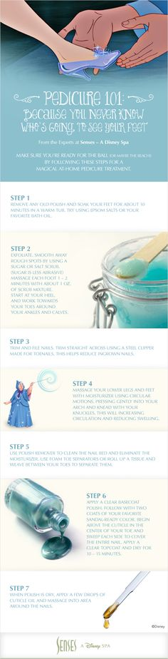 Pedicure 101: Because you never know who's going to see your feet!  Follow these Disney pedicure DIY steps for a magical at-home treatment, fit for a princess. Brought to you by Senses – A Disney Spa.