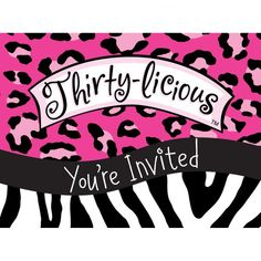 """Make 40 delicious! The Forty-licious Invite is the perfect opening to your Feisty Forty Party! This Invitation features a gate-fold style invitation, with a leopard print top in neon green, with a zebra-print bottom, and a black ribbon that reads """"It took Leopard Spots, Leopard Print Top, Zebra Print, Bachelorette Party Supplies, Google Plus, White Zebra, Party Stores, Party Guests, Youre Invited"""