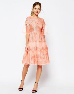 ASOS SALON Lace And Organza Midi Dress
