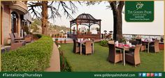 A spectacular outdoor location of 'English Garden' assures to serve you with finest food & mood, at Golden Palms Hotel & Spa, Mussoorie. Visit now at www.goldenpalmshotel.com for more details.