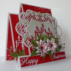 I'm still working on Christmas cards for FatCats Card Corner , this time its a couple of side step cards. These two and some of the ot. Christmas Cards 2018, Stamped Christmas Cards, Christmas Card Crafts, 3d Christmas, Xmas Cards, Handmade Christmas, Holiday Cards, Fun Fold Cards, Pop Up Cards