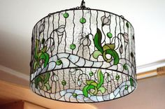 Stained glass chandelier stained glass hanging lamp by VGfantasy