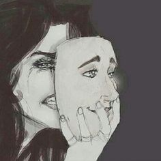 Image uploaded by Zara Degamo. Find images and videos about smile, sad and cry on We Heart It - the app to get lost in what you love. Drawing Feelings, Smile Drawing, Mask Drawing, Sad Drawings, Dark Art Drawings, Drawing Sketches, Crying Girl Drawing, Deep Art, Sad Pictures