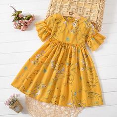 Buy Floral Print Trumpet Sleeve Round Neck Dress online with cheap prices and discover fashion Daily Dress at . Girls Frock Design, Baby Dress Design, Kids Dress Wear, Kids Gown, Baby Frocks Designs, Kids Frocks Design, Frocks For Girls, Little Girl Dresses, Dresses For Girls