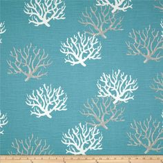 Screen printed on cotton slub duck (slub cloth has a linen appearance); this versatile medium weight fabric is perfect for window accents (draperies, valances, curtains and swags), accent pillows, duvet covers, upholstery and other home decor accents. Create handbags, tote bags, aprons and more. *Use cold water and mild detergent (Woolite). Drying is NOT recommended - Air Dry Only - Do not Dry Clean. Colors include grey, white and aqua blue.