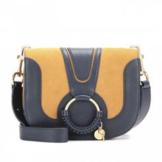 Navy and Tan Hana Medium Leather Shoulder Bag from See By Chloé.