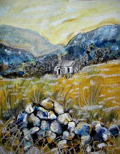 """Louise Worthy """"Croft in Sutherland"""" Mixed Media"""