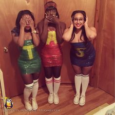 Last-Minute Alvin and the Chipmunks Duct Tape costumes for ladies