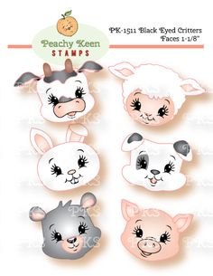 PK-1511 Black Eyed Critters Faces 1-1/8 inch: Peachy Keen Stamps | Home of the original clear, peach-tinted, high-quality whimsical face stamps.