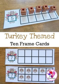 Hands-on Math With Turkey Ten Frame Cards Free Turkey Ten Frame Cards - two different types of . Thanksgiving Activities For Kids, Thanksgiving Preschool, Printable Activities For Kids, Thanksgiving Turkey, Preschool Printables, Ten Frame Activities, Math Activities, Math Games, Halloween Math
