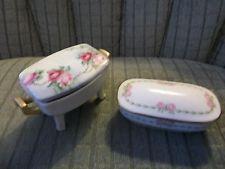 2 Antique Floral Trinket Boxes Pink GDA Limoges & M Z Austria Footed Gold Handle
