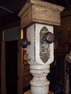 Repurpose old door knobs and wooden pieces/stair railings, etc. for a funky and functional coat/hat rack.