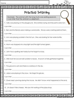 Inferring is a prime example of a critical thinking skill used in classrooms today. Students are asked to read text and analyze it by thinking deeper---way beyond the visual text. This post will provide ideas to help your students learn how to infer. Inference Activities, Reading Comprehension Worksheets, Reading Strategies, Reading Skills, Teaching Reading, Comprehension Strategies, Reading Resources, Reading Workshop, Inference