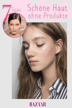 Eine Pflege, die jedes Hautproblem löst? Immer her damit! Doch nur ein gesunder Lebensstil bringt die Haut zum Strahlen. Das erfordert ein bisschen Disziplin, kann aber die Ausgaben für teure Produkte drastisch reduzieren. Diese sieben Tipps machen das Hautbild reiner, die Poren kleiner und die Ausstrahlung größer – und dafür benötigt man kein einziges Beauty-Produkt. #beauty #skincare #hautpglege #schöne #haut #makeup