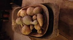 Old Prim Trenchers...filled with dried gourds.