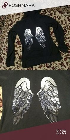 Victoria's Secret- Hoodie -Black - Angel Wings - S This is a Victoria's Secret hoodie featuring the signature angel wing emblem on the back in black and silver sequins. The color of this piece is a rich black. This color makes the wings really pop! This is a perfect condition item- no stains, holes, or damage. Won once on to a bridesmaid function. Great piece for straight leg jeans and fun boots, or can be paired with your favorite leggings! Very soft inside. Victoria's Secret Tops…