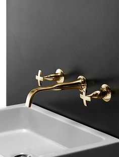 Charcoal walls |gold plumbing hardware| Home decor that pops