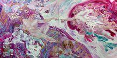 Katja Tukiaisen versio Michelangelon Aatamin luomista esittävästä freskosta.