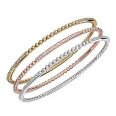 Staking rose, white and yellow gold bangles from Adwar Casting Leather Jewelry, Silver Jewelry, 925 Silver, Silver Earrings, Gold Necklace, Korean Jewelry, Gold Bangles Design, Jewellery Sketches, Imitation Jewelry