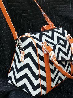 Rockstar Bag pdf sewing pattern, black chevron