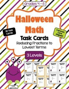 These Halloween Math Task Cards feature 36 Differentiated Halloween Task Cards on Reducing Fractions to Lowest Terms. There are 12 task cards for Level 1 (Basic), 12 task cards for Level 2 (Intermediate) and 12 task cards for Level 3 (Advanced). Each level has a different Halloween themed border. With 3 different levels you can differentiate by student or class. Great for homeschooling families too!