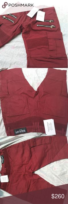 ????BALMAIN CARGO SHORT WITH SIDES POCKETS ???? new summer arrival ????   NEW IN PACKAGE WITH TAG  BALMAIN CARGO SHORT. With the sides pockets, Color dark red Balmain Shorts Cargo