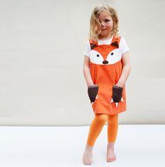 Fox Play Dress Costume for little girls in orange by wildthingsdresses on Etsy