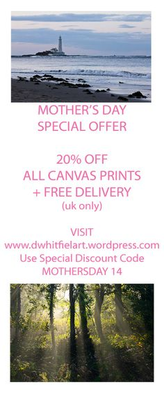 Mother's Day Special Offer 20% OFF All Canvas Prints + FREE DELIVERY (UK Only) Order by 26th March! www.dwhitfieldart.wordpress.com