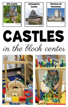 Introduce engineering projects for kids in the early childhood classroom with pictures of real castles. Literacy, math, science, and lots of building fun! Includes a free printable to try out in your own block center. #FunADay #Preschool #PreschoolActivities #Kindergarten #PreschoolTeachers #KindergartenTeachers #PreschoolCenters #STEM #FreePrintable