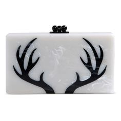 Edie Parker White Acrylic Box Clutch ($850) ❤ liked on Polyvore featuring bags, handbags, clutches, white, metallic handbags, lucite purse, white handbags, lucite handbag and print purse