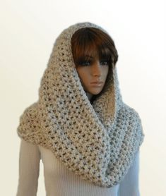 OVERSIZED INFINITY Scarf Crochet Extra Large Huge Hooded Mens Infinity Cowl Chunky Loop Beige Wheat Infiniti Scarf Womens Mens Knit Scarf Mens Knitted Scarf, Scarf Crochet, Chunky Infinity Scarves, Wool Blend, Cowl, Hoods, Knitwear, Beige, Shop