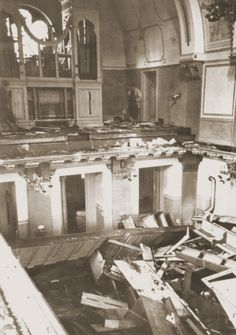 Interior of the Zerrennerstrasse synagogue after its destruction on Kristallnacht.