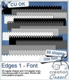 Edge #1 - Font - With this font, you can create patterned edges, as if you were using decorative scissors.