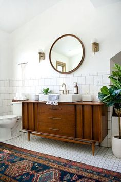 Cool Console - Why Natural Wood Is The Trendiest New Bathroom Material - Photos #healthyrecipes