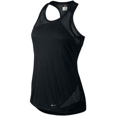 Nike Relay Tank Top Black ($24) ❤ liked on Polyvore featuring activewear, activewear tops, tops, nike activewear, nike and nike sportswear