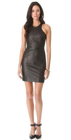 Mason by Michelle Mason Leather Front Dress