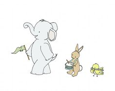 Children Art -- Animal Parade -- Elephant Nursery Art Print --  Elephant Bunny Bird, Nursery Decor, Elephant Art Print, Kids Wall Art Elephant Nursery Art, Bird Nursery, Art Wall Kids, Art For Kids, Baby Canvas, Decoupage, Baby Art, Baby Patterns, Nursery Decor