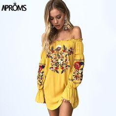 4444abba6e Aproms Gypsy Off Shoulder Floral Embroidery Dress Women 2017 Boho Long  Sleeve Short Autumn Beach Dress Casual Sundress Vestidos