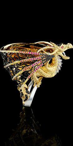 Collection: Mysticism 18K  yellow and white gold, citrine 74,33 ct, diamonds, black diamonds, yellow diamonds, rubies, orange sapphires, enamel.