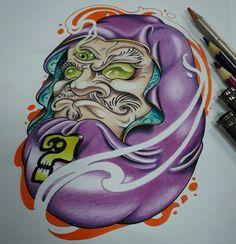 Daruma Doll finished...!  #zombite #darumadoll #daruma #bodhidharma #japaneseculture #yokai #newschool #newschoolartist #tattoolife #drawingfortattoo #sketchfortattoo #colorful #cuenca #ecuador Hannya Maske Tattoo, Daruma Doll Tattoo, Life Tattoos, Body Art Tattoos, Sleeve Tattoos, Japanese Tattoo Art, Japanese Tattoo Designs, Drawing For Tattoo, Flor Tattoo