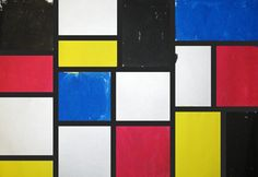 3rd Grade Art with Mrs. Brown - Piet Mondrian. Use pencils and rulers to divide up paper into an abstract arrangement of shapes and use strips of black paper to make straight, clean lines once the paint is dried