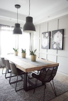 Modern Farmhouse Dining Table with Black Base and Natural To.- Modern Farmhouse Dining Table with Black Base and Natural Top Dining Room Table Decor, Dining Table Design, Modern Dining Table, Living Room Decor, Scandinavian Dining Table, Dinning Table Decorations, Industrial Dining Rooms, Kitchen Dining Tables, Dinning Room Lights